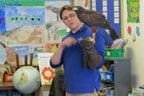Teacher-naturalist with Harris hawk