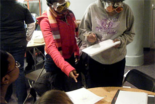students seeing things differently with light-filtering goggles
