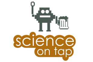 logo for science on tap, includes a robot with a mug of beer