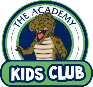 logo for Academy Kids Club showing a cartoon Tyrannosaurus