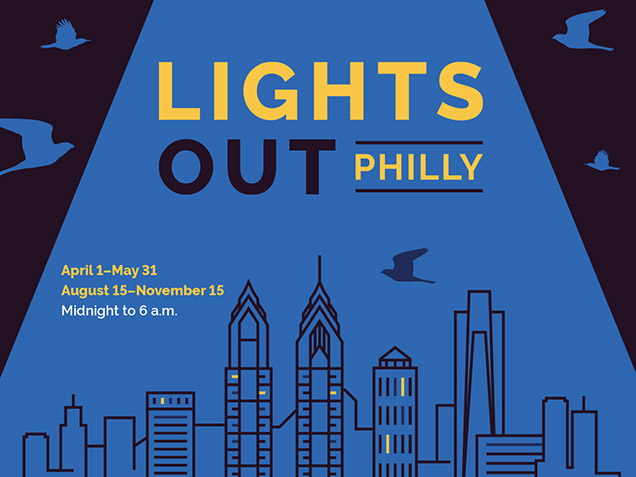 lights out philly logo with blue background showing philly skyline with birds flying over