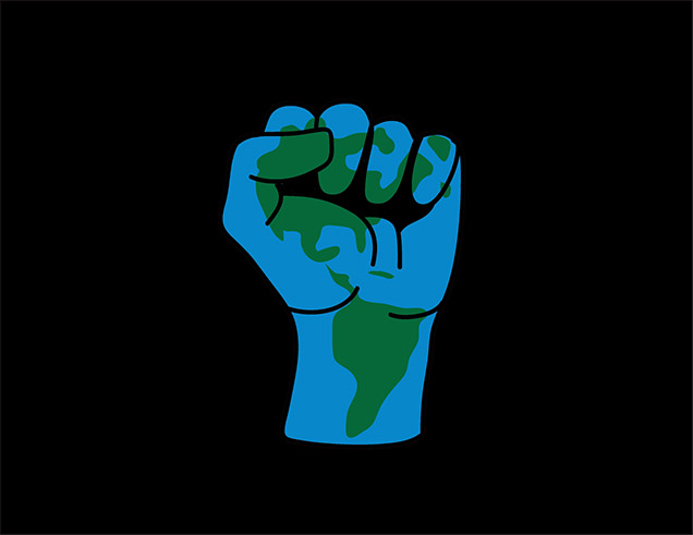 environmental justice -fist with globe painted on