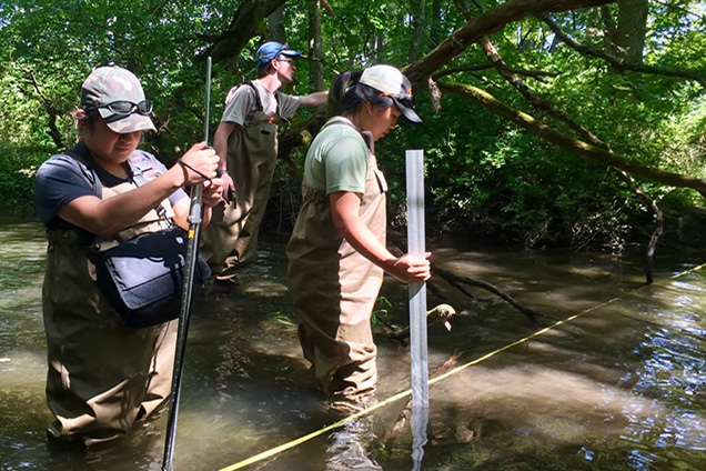 scientists in stream