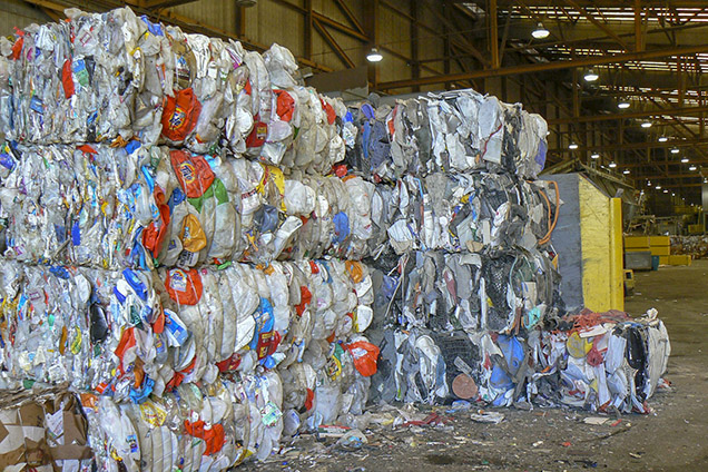 stacks of recycling materials