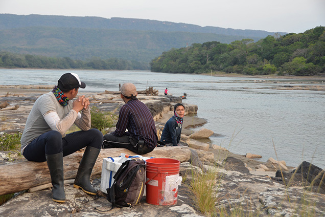 scientists sit near river