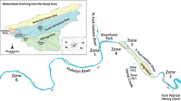study sites on the Holston River