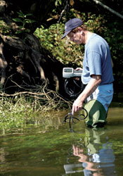 environmental chemist Paul Kiry measuring water quality