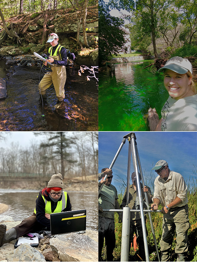 collage of scientists in the field