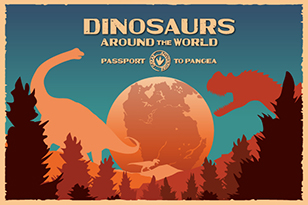 Dinosaur illustration with text Dinosaurs Around the World