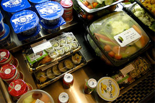 yougurt, salads and sushi in the Academy Cafe