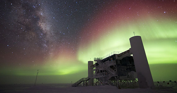 Aurora over the IceCube Project at the South Pole
