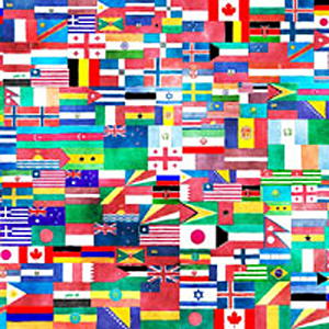 Collage of many nation's flags