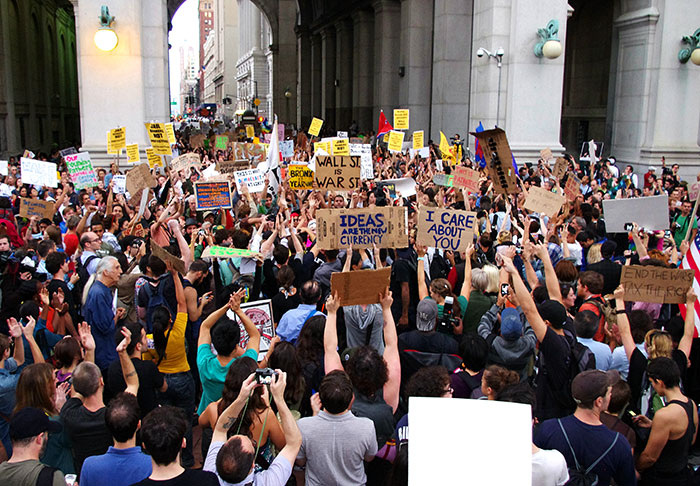 Protest in front of Wall Street