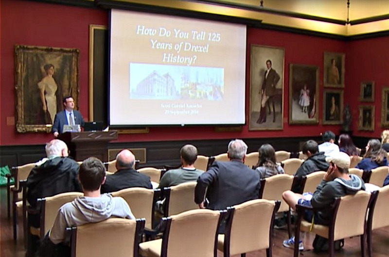 "Scott Gabriel Knowles, PhD, interim department head and associate professor in the Department of History in the College of Arts and Sciences, delivered the discussion ""How Do You Tell 125 Years of Drexel History?"" in the fall pubic lecture series."