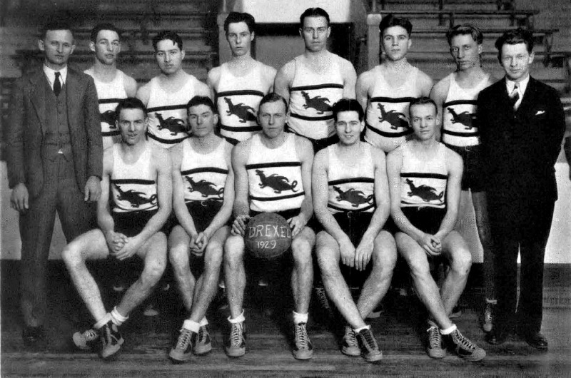 The Drexel Institute of Art, Science and Industry's men's basketball team with dragons on their uniforms in the 1929 Lexerd yearbook. Photo courtesy University Archives.