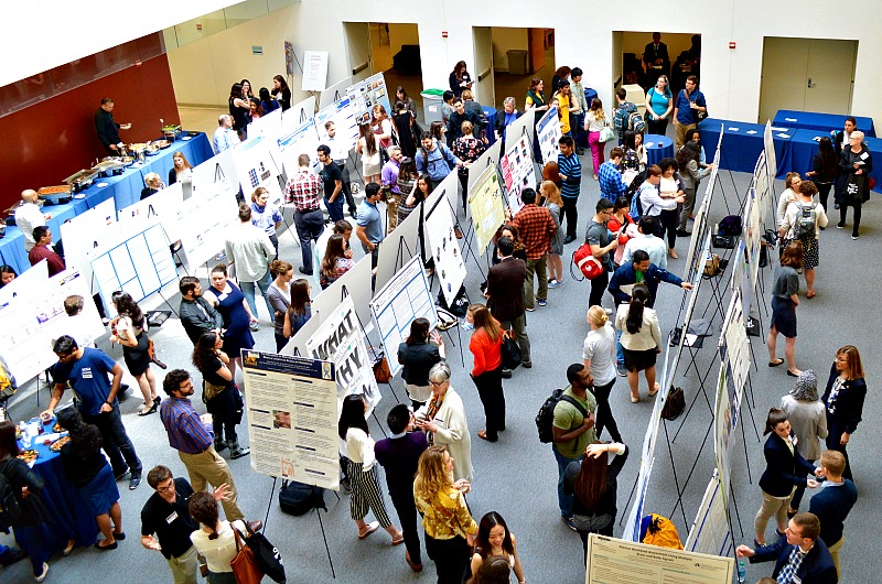 An aerial view of the poster research presentations.
